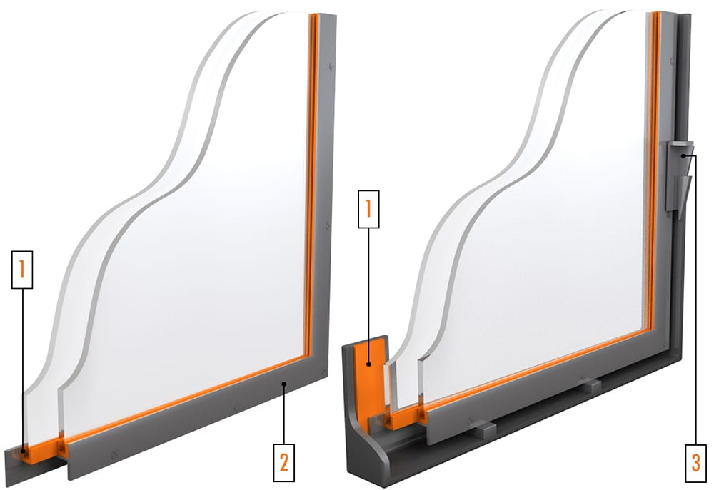 Industrial Window System with H Frame Heat Shield Mounting