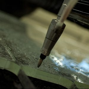 Water Jet Cutting Closeup